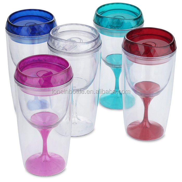 portable winr glass tumbler 16oz Double Wall Insulated wine sippy cup,double wall thermal wine glass tumbler,wine cooler tumbler