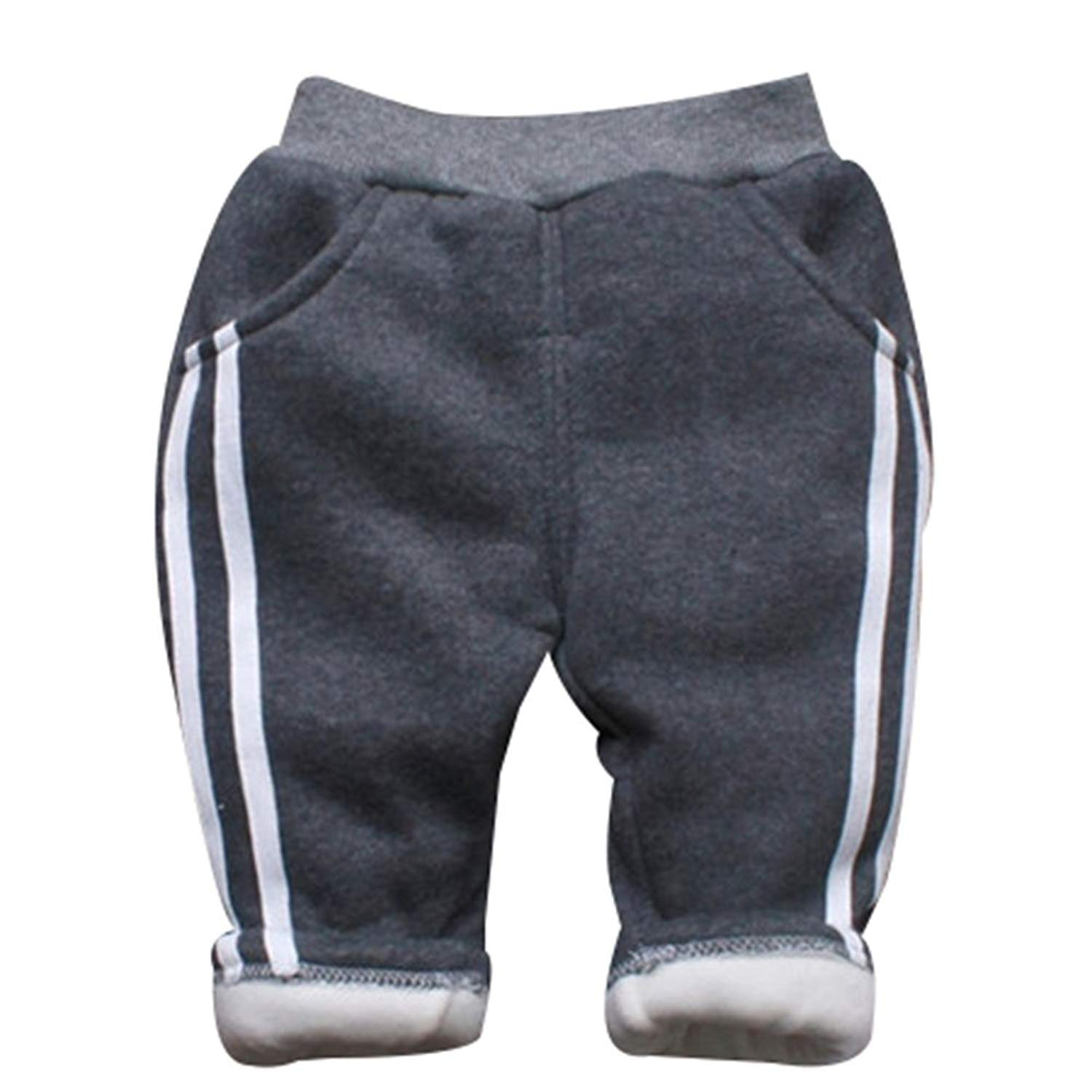 51deb3e349d Get Quotations · TAIYCYXGAN Baby Boys Winter Warm Fleece Lined Pants  Toddler Thicken Pants Elastic Casual Jogger Kids Trouser