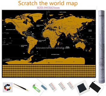 Custom Black Gold Flag World Scratch Map Buy World Scratch Off Map - Black and gold world map