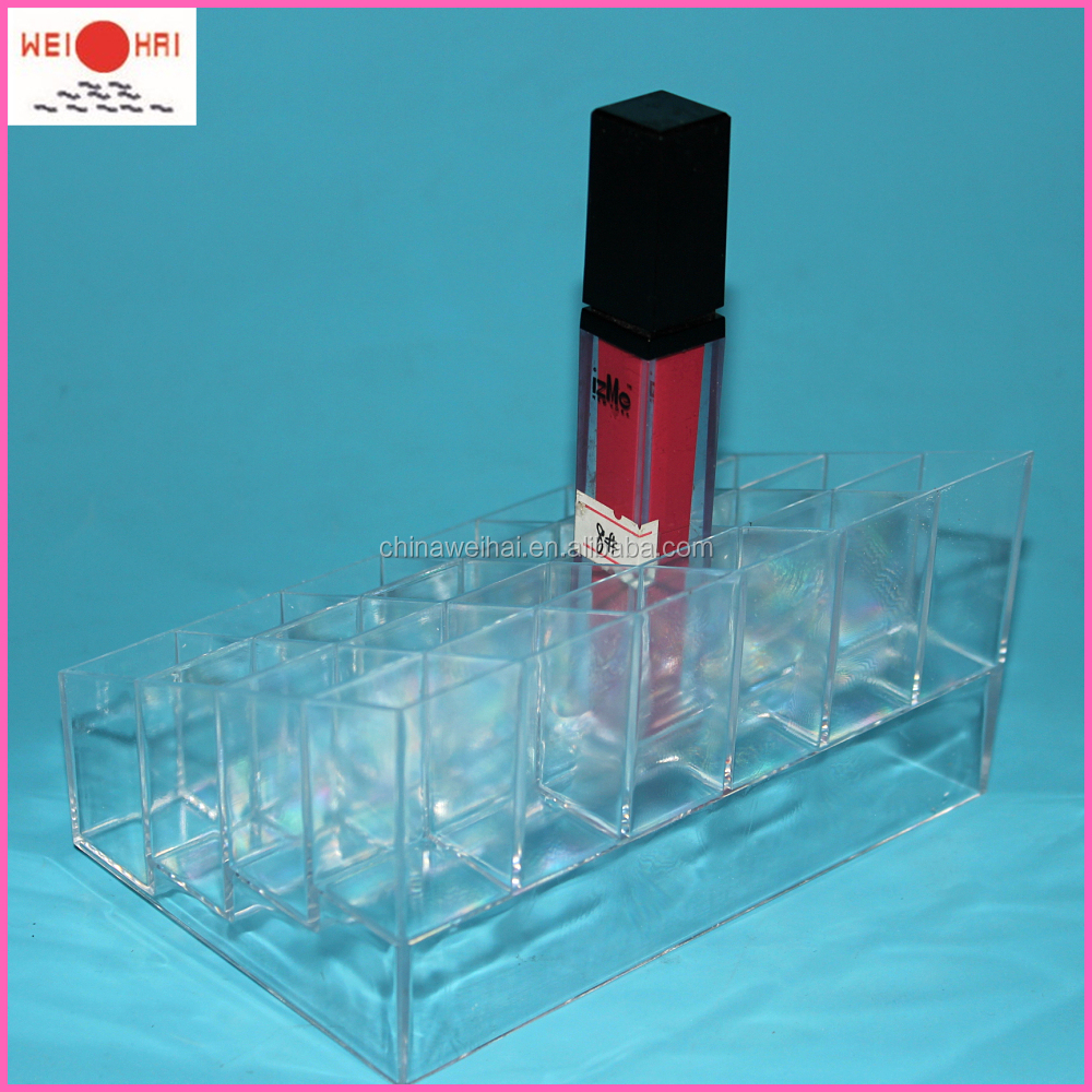 Kristal Transparante 24 gaten Acryl of PS make organizer/Lippenstift houder