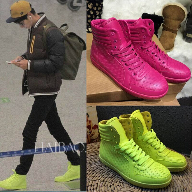 dc12d23113d8 Women Men sneakers 2015 Breathable Light Lovers leather shoes brand sneaker  High Top Coda Neon Sneaker Star with lovers sneakers