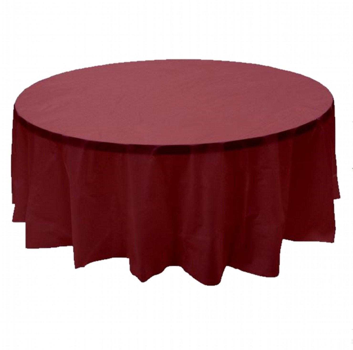 "2 Plastic Round Tablecloths 84"" Diameter Table Cover - Burgundy"