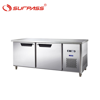 Commercial stainless steel worktops refrigerated under counters with 2 doors