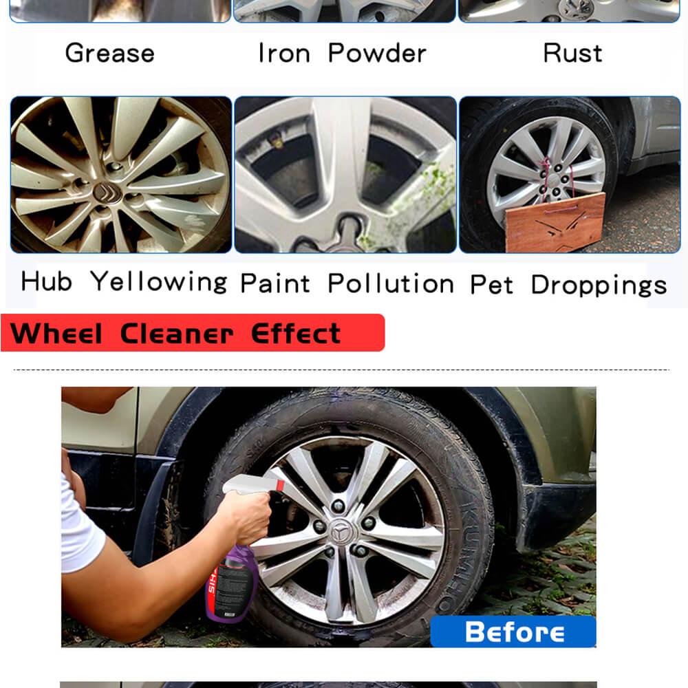 Wholesale China car detailing kit suppliers super & strong cleaning spray rim alloy wheel cleaner