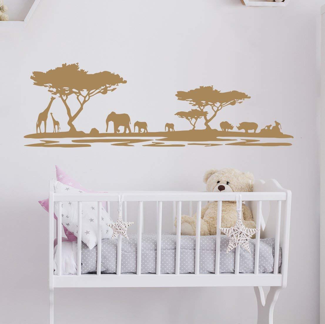 Safari Nursery Wall Decals. Wall Vinyl Sticker Nursery. Nature Wall Decal. Zoo Wall Decor. African Nursery Decor. Giraffe Elephant Decal kp25