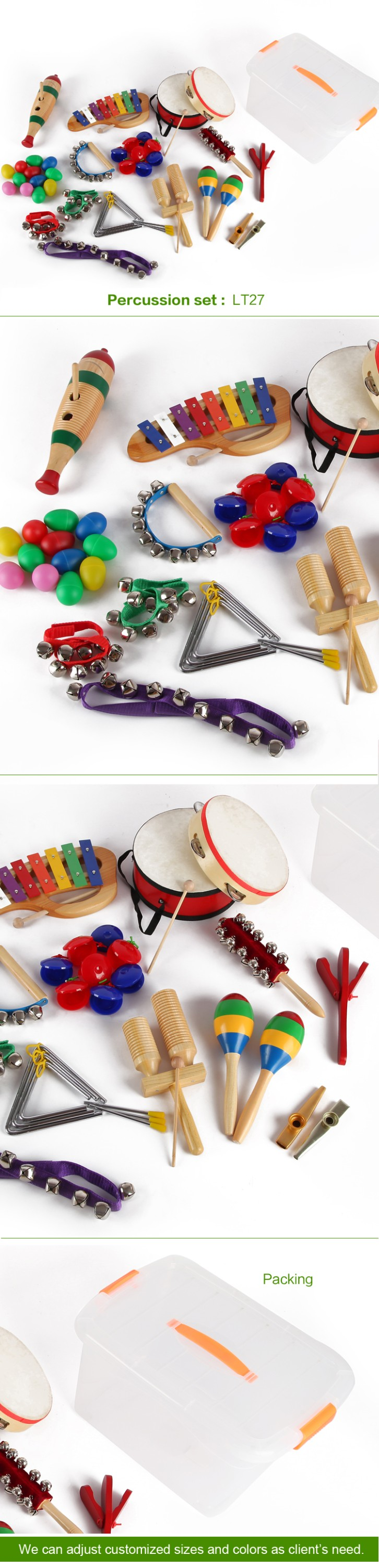 YH Kid Musical Instrument musical toy box sets percussion set