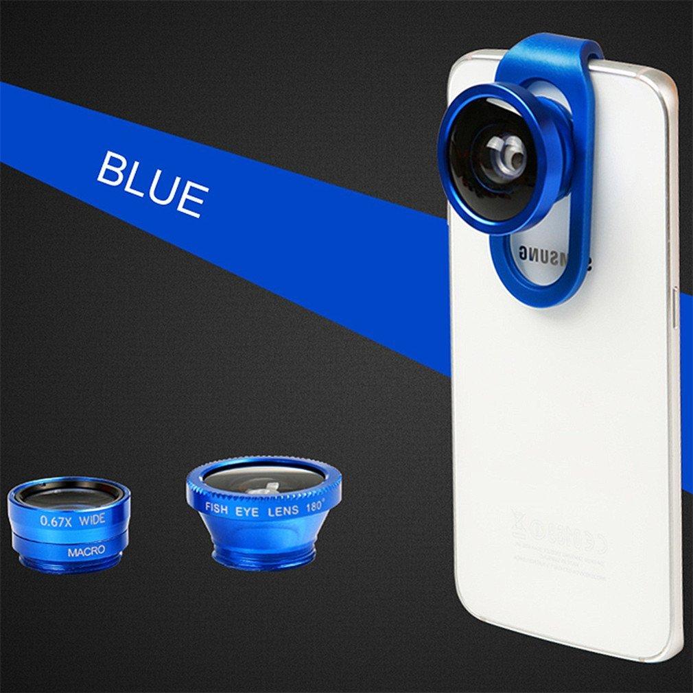Phifo iPhone Lens Camera Lens Kit Fisheye Lens + Wide Lens + Macro Lens + CPL Lens Universal 4 in 1 Smartphone Lens for iPhone/Samsung Galaxy/iPad (Blue)
