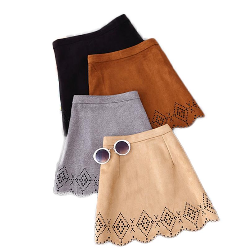 d001e070841 Get Quotations · 2015 Autumn American Apparel Vintage Ethnic Women Hollow  Out Faux Suede Mini A-line Skirt
