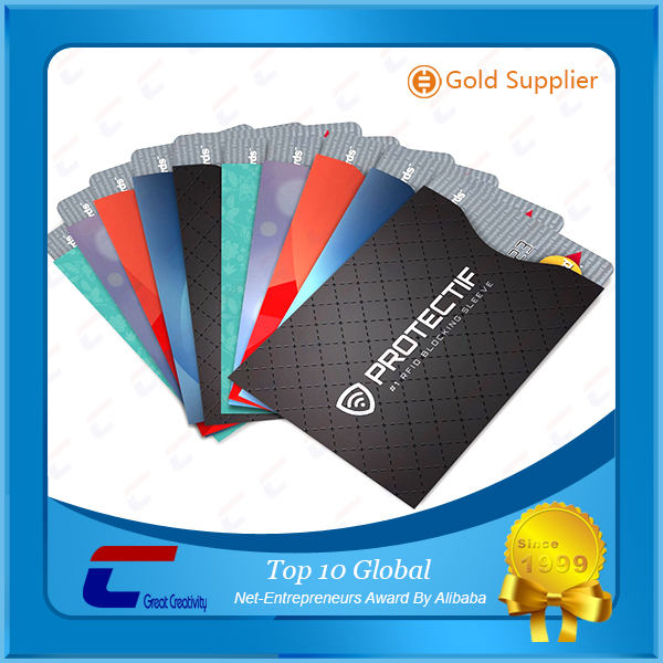 Contactless RFID credit card protector sleeve/Aluminum foil paper cell phone RFID card holders