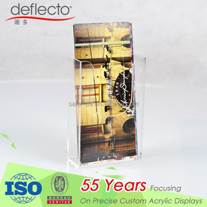 Brochure holder 1/3 A4 wide clear acrylic wall mounting literature dispenser