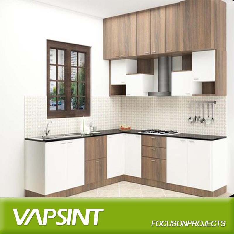 En forma de L mueble de cocina modular con acabado laminado
