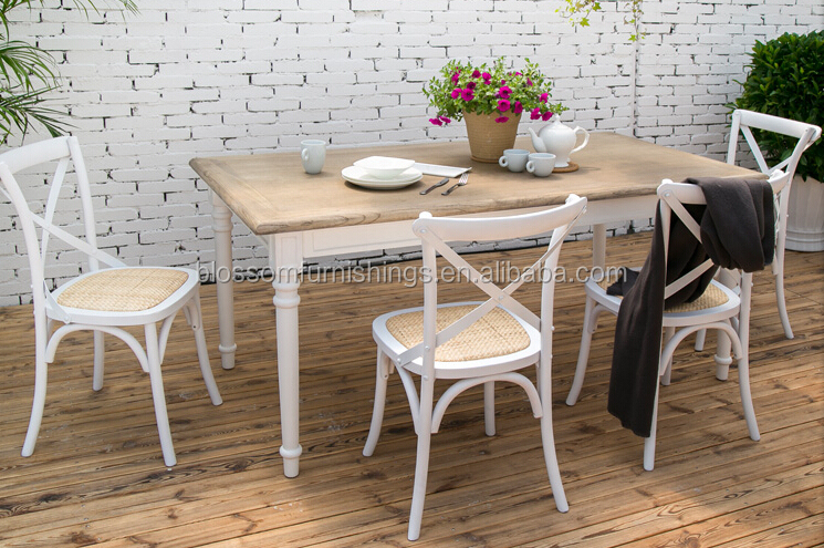 White Washed Stacking Cross Back Chair X