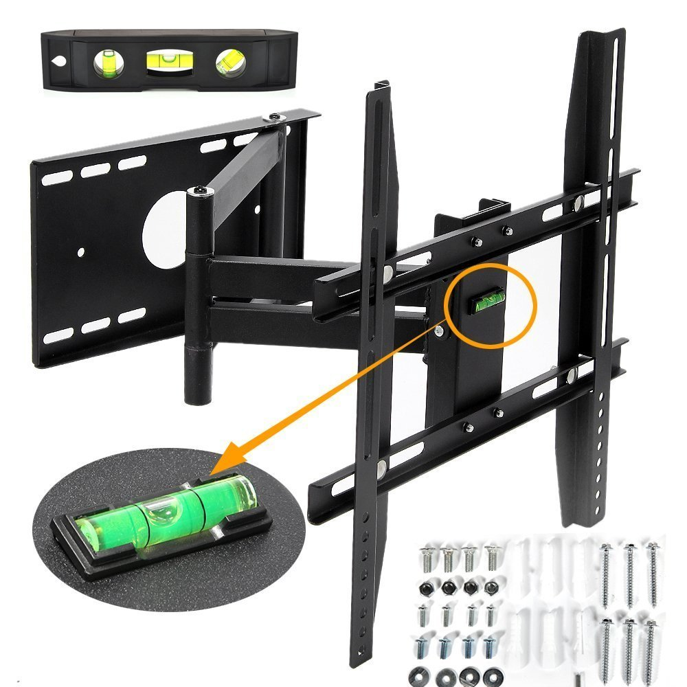 "Masione™ Universal Corner 14-40"" TV Wall Mount Bracket with Full Motion Swing Out/Extendable & Tilting & Swivel Articulating Arm for 14"" 15"" 19"" 21"" 22"" 23"" 26"" 27"" 30"" 32"" 37"" 40"" LED,LCD,Plasma TVs and flat panel displays with Magnetic Bubble Level(14-40"")"