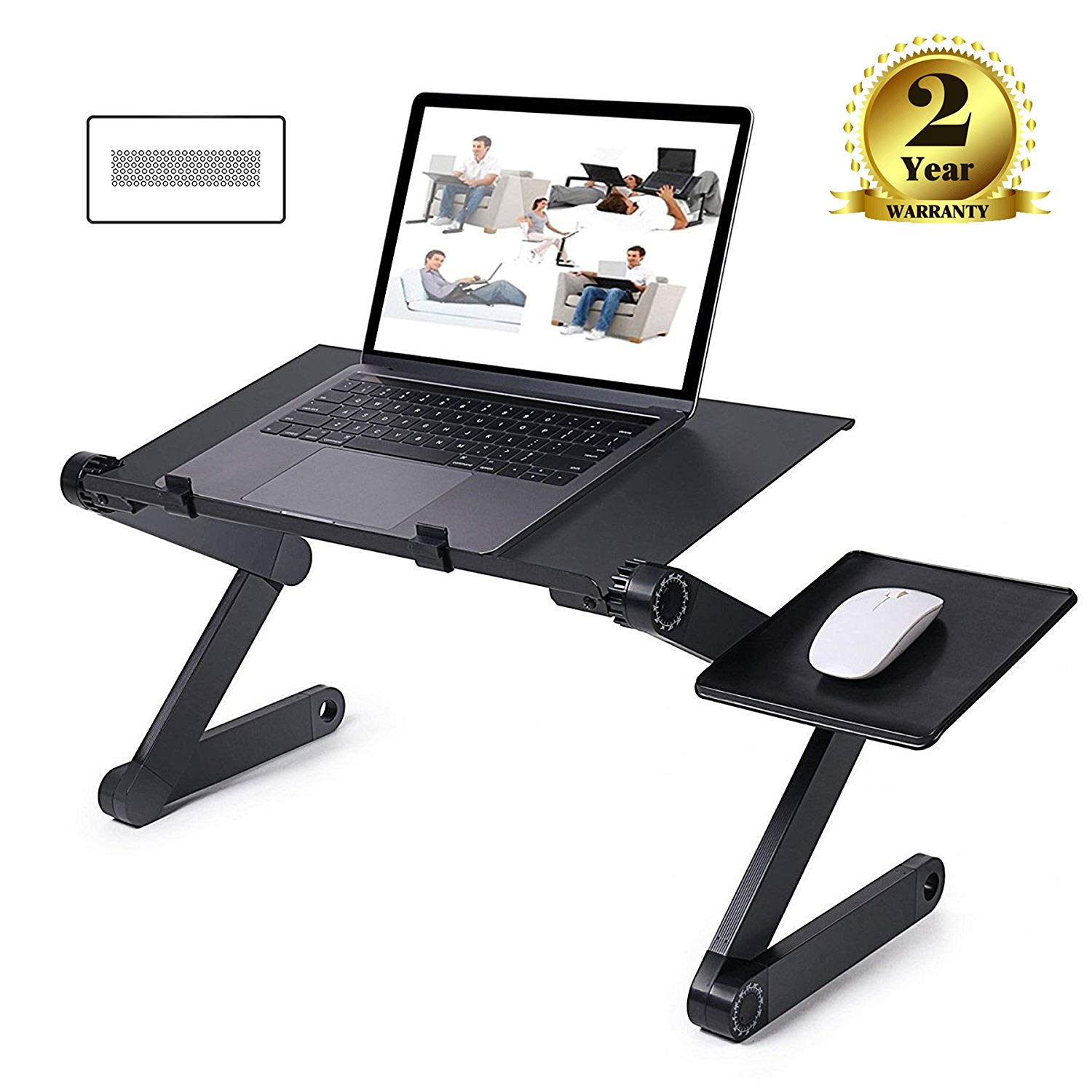 Gelinzon Laptop Table Portable Foldable Adjustable for Bed, Home Office Notebook PC Lap Desk Stand with Mouse Pad,Book Stand and Breakfast Serving Bed Tray, Ergonomics 360 Degree Adjustable Legs