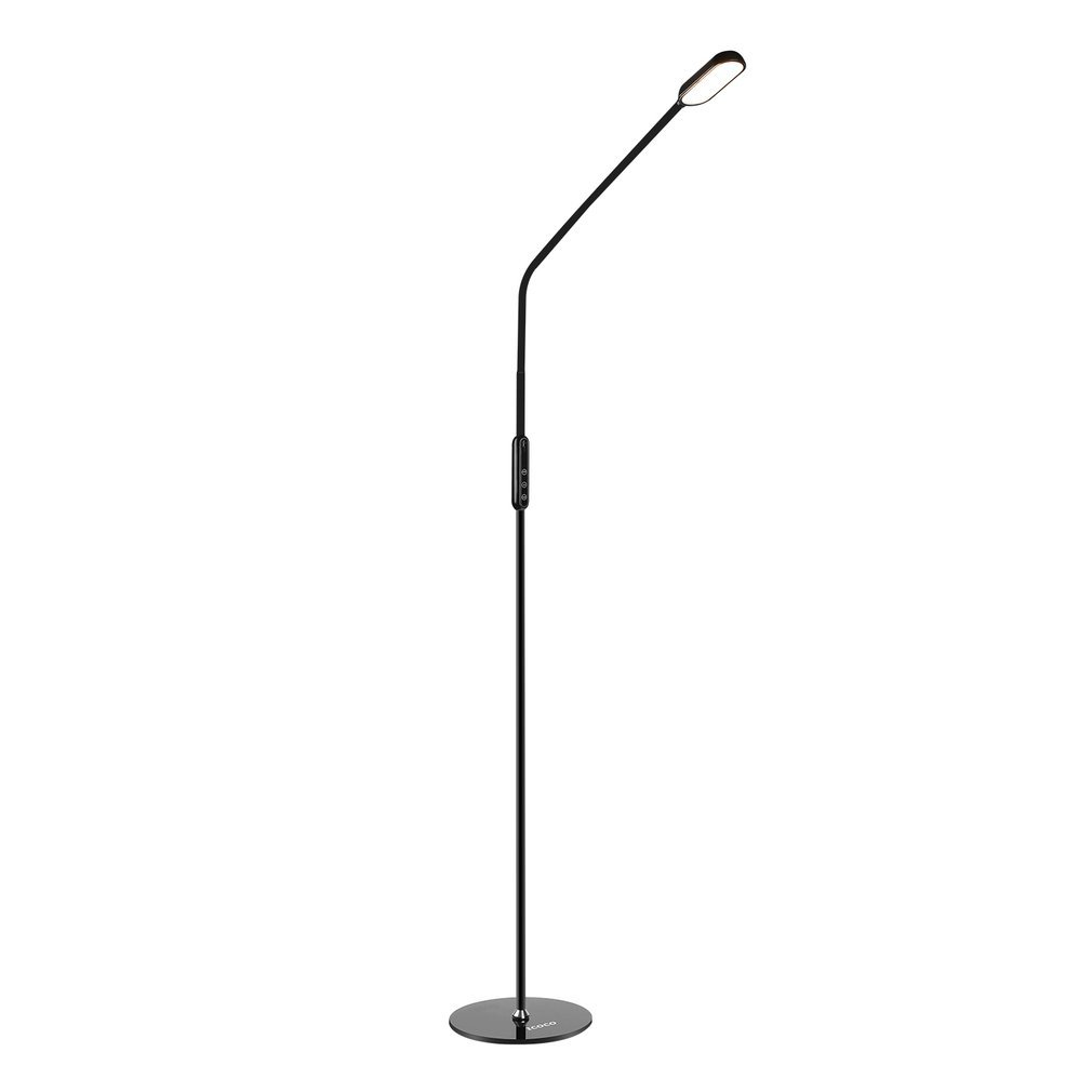 ICOCO LED Gooseneck Floor Lamp for Reading, Bedroom, Crafts, Knitting, Sewing (Adjustable Pole Height, 5 Color Temperatures, 5-Level Dimmable, 30-Min Timer, Premium Diffusion Film) (Floor Lamp)