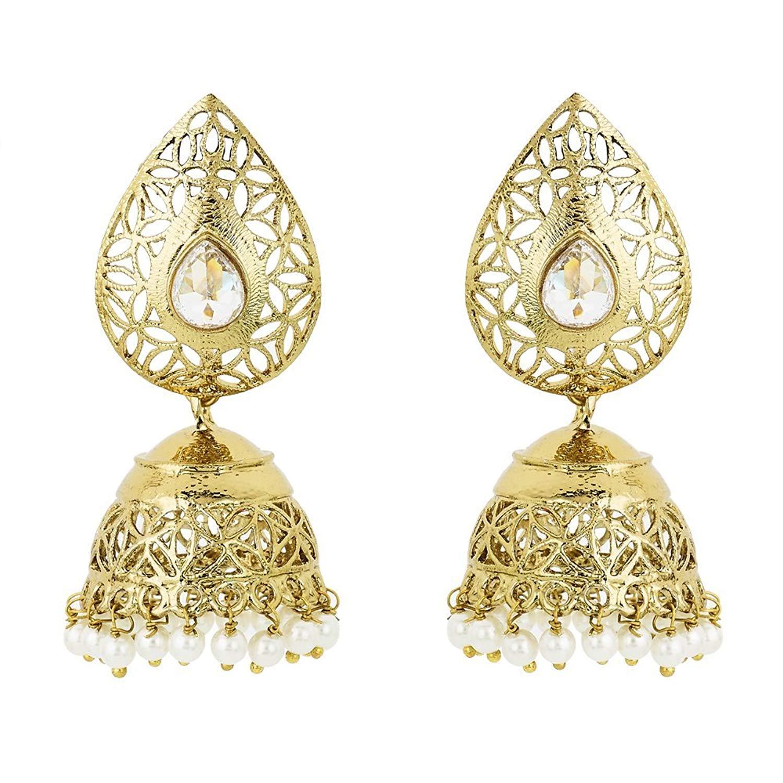 6f10d31ead1 Get Quotations · BeBold Trendy Gold Brass Fashion Fancy Pearl Jhumki  Earrings Bollywood Indian Jewelry For Women Girls