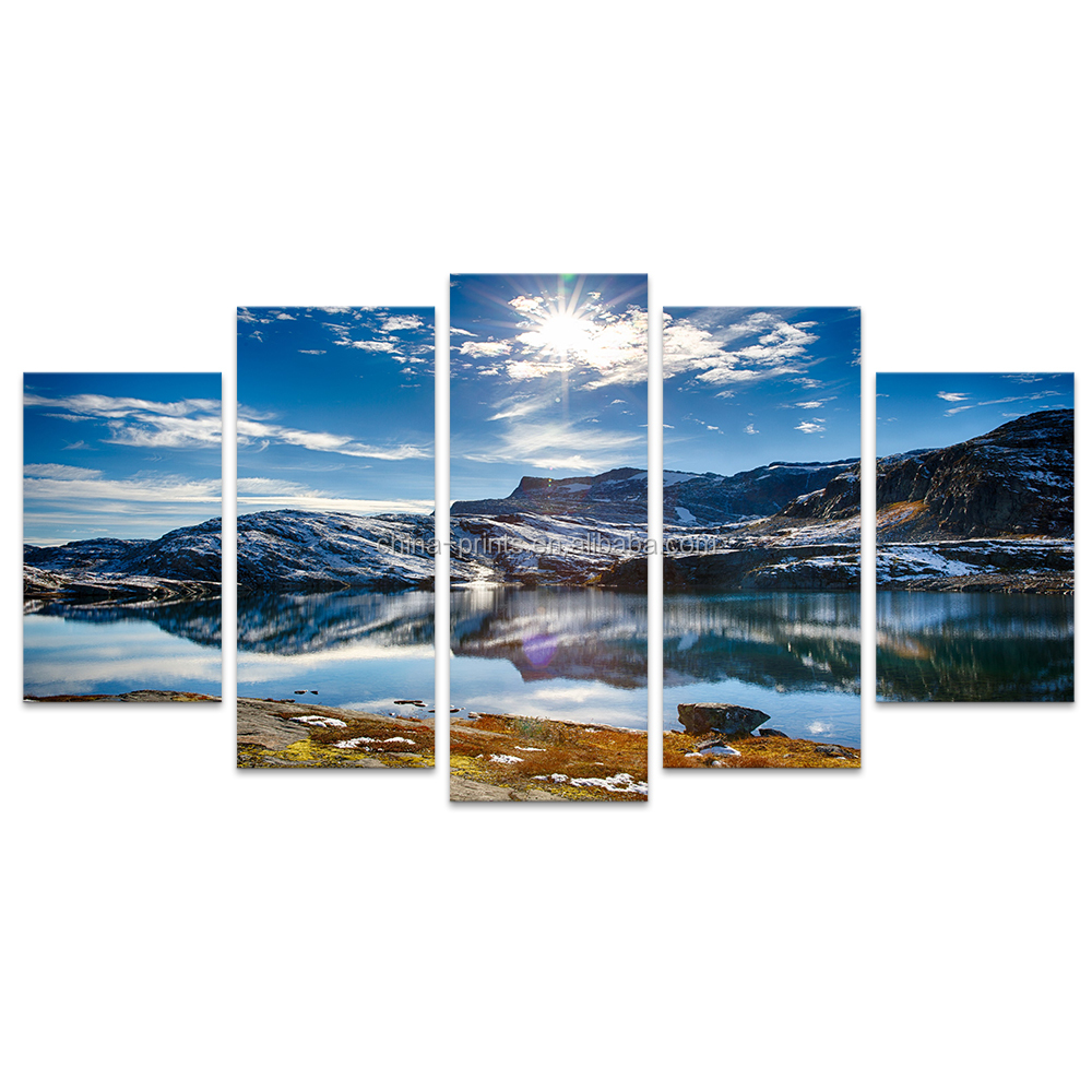 HD Printed Wall Art Mountain Scenery 5 Pieces Nature Landscape Seascape Wall Pictures for Living Room Wall Art/SJMT1985