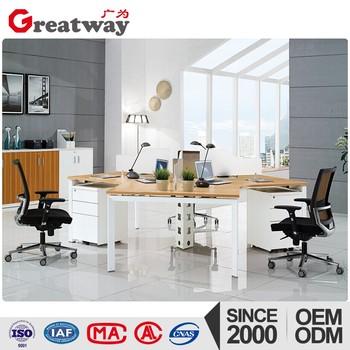 Bureau Open Space New Model Curved Office Desk Wooden Furniture