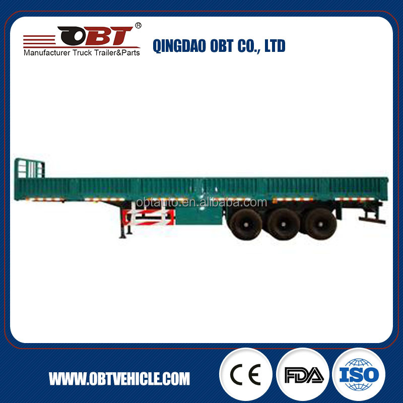 OBT 4Axles Utility Flat Bed Trailer with Sidewalls / Container Locks / Posts Optional