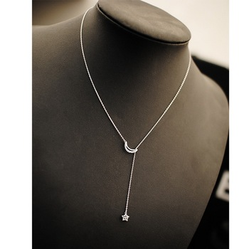 Fashion 925 sterling silver necklace moon and star lariat necklace