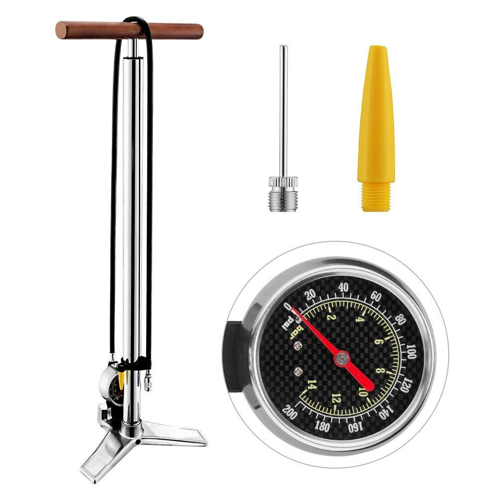 RockBros Bike Floor Pump with Gauge 200 PSI High Pressure Presta /& Schrader