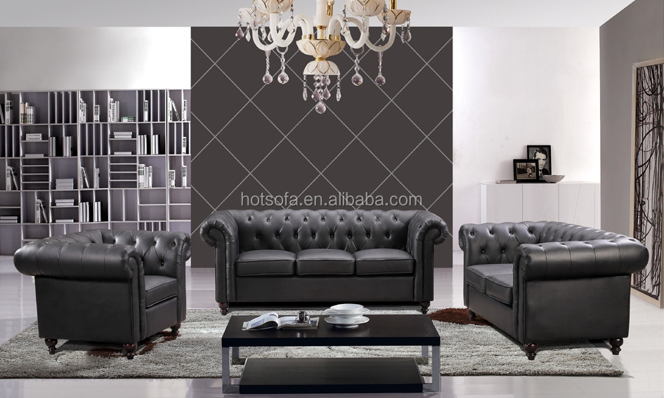 H109 Modern Chesterfield Leather Sofa Dubai Luxury Latest Designed