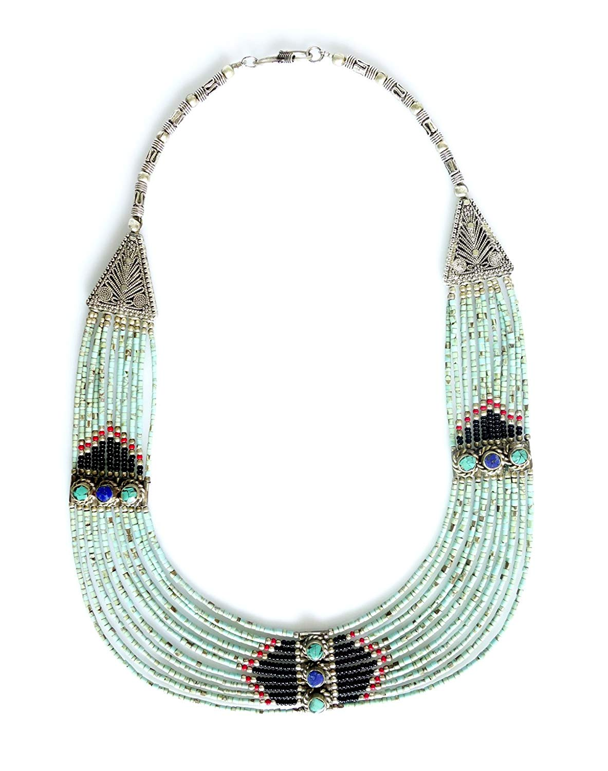 MULTI STRAND UNIQUE STATEMENT NECKLACE TURQUOISE GEMSTONE FINE FILIGREE COLLAR FASHION NECKLACE LIGHT WEIGHT ETHNIC TRIBAL GYPSY OXIDIZED SILVER HANDMADE JEWELRY FOR WOMEN AND YOUNG GIRLS