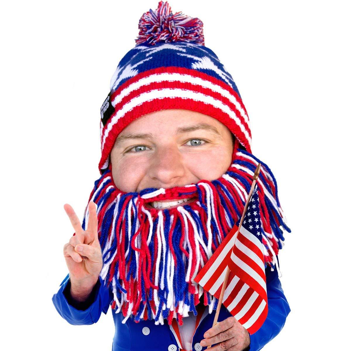 bdf4e5cc819 Get Quotations · Beard Head - The Original Patriot Knit Beard Hat