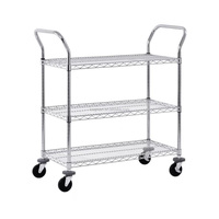 3 shelf chrome wire shelving Rolling Utility Cart Heavy duty rolling cart for large kitchen garage office storage