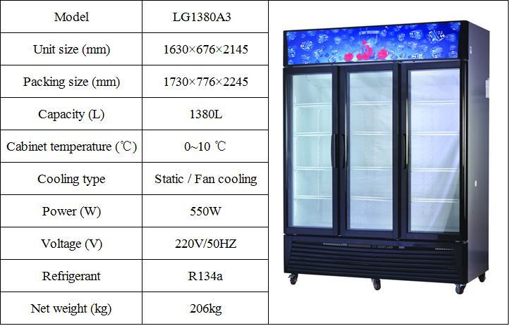 Guangzhou Factory Supermarket Equipment Transparent Door Fridge