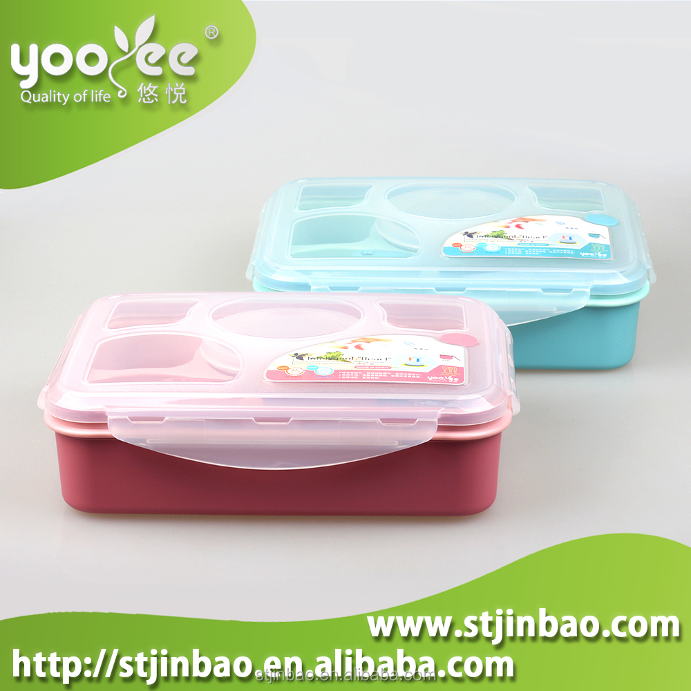 4+1 Microwave Plastic Bento Lunch box Food Container Dinnerware Set With Spoon