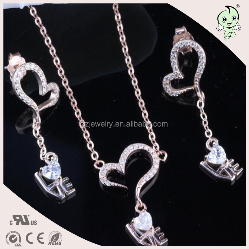 Unique Elegant Good Quality Drop Heart Design Plating Rose Gold 925 Sterling Silver Jewelry Set
