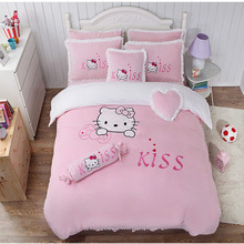 100% polyester flannel hello kitty embroidery girl bed sheet set