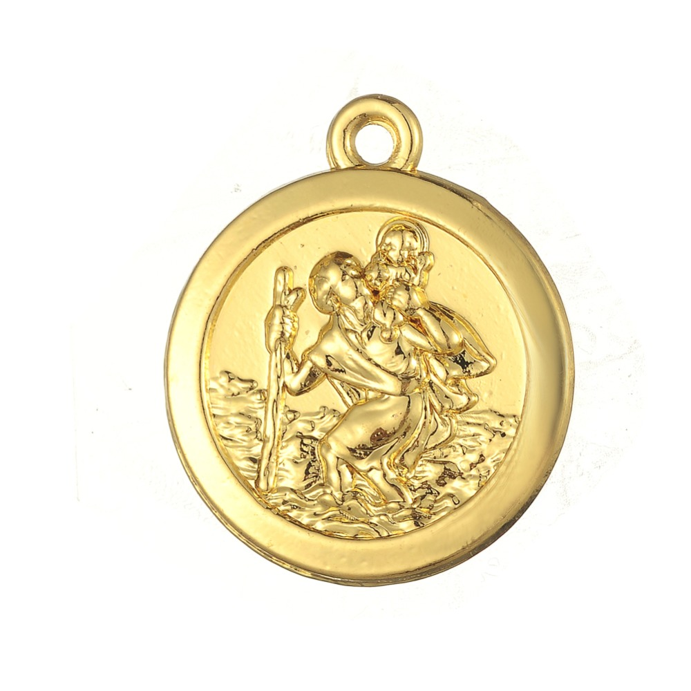 "18K Gold & Rhodium Plated Coin Shape ""Protect Us"" Metal Religious Charms <strong>Pendant</strong>"
