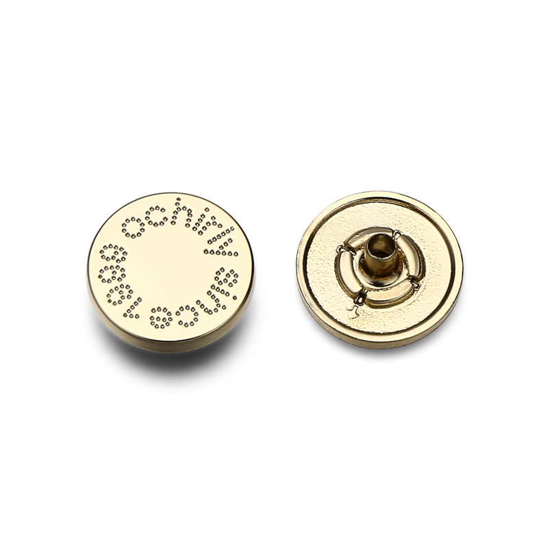 Custom Brand Logo Zinc Alloy Gold Metal Snap Fastener Button For Clothing