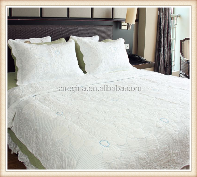 Nice embroidery quilt with white lace
