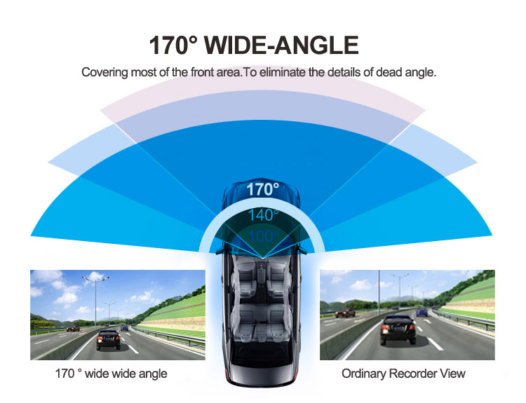 3 inch screen 170 wide angle G-sensor real hd 720p car dash cam