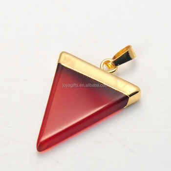 Wholesale Natural Red Carnelian Stone Triangle Healing Chakra Pendant 2015 New Arrival Gemstone Gilding Pendant Jewelry