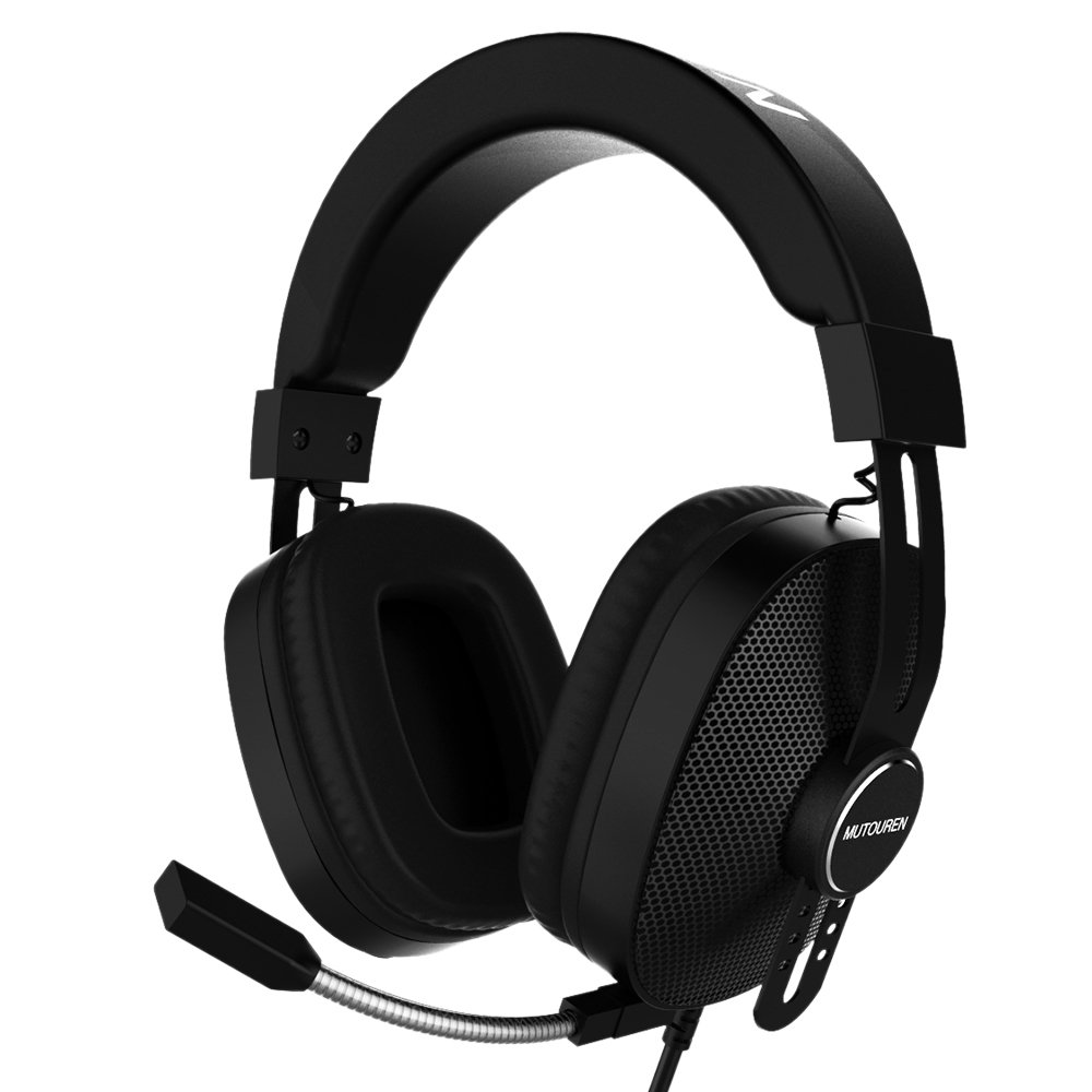 MUTOUREN Gaming Headset Surround Sound Over-Ear Gaming Headphones Noise Reduction Microphone Headsets with 7 Colors LED Light for PC/Xbox/One/PS4/Wii U/Mobile - Black