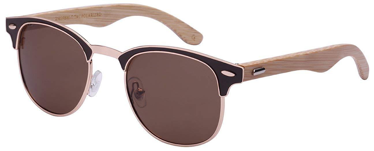 a18350d727 Get Quotations · Edge I-Wear Bamboo Wood Optical Quality P3 Horned Rim  Sunglasses w Polarized Lens