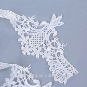 Shantou cord lace manufacture fancy polyester water soluble embroidery lace trim exporter