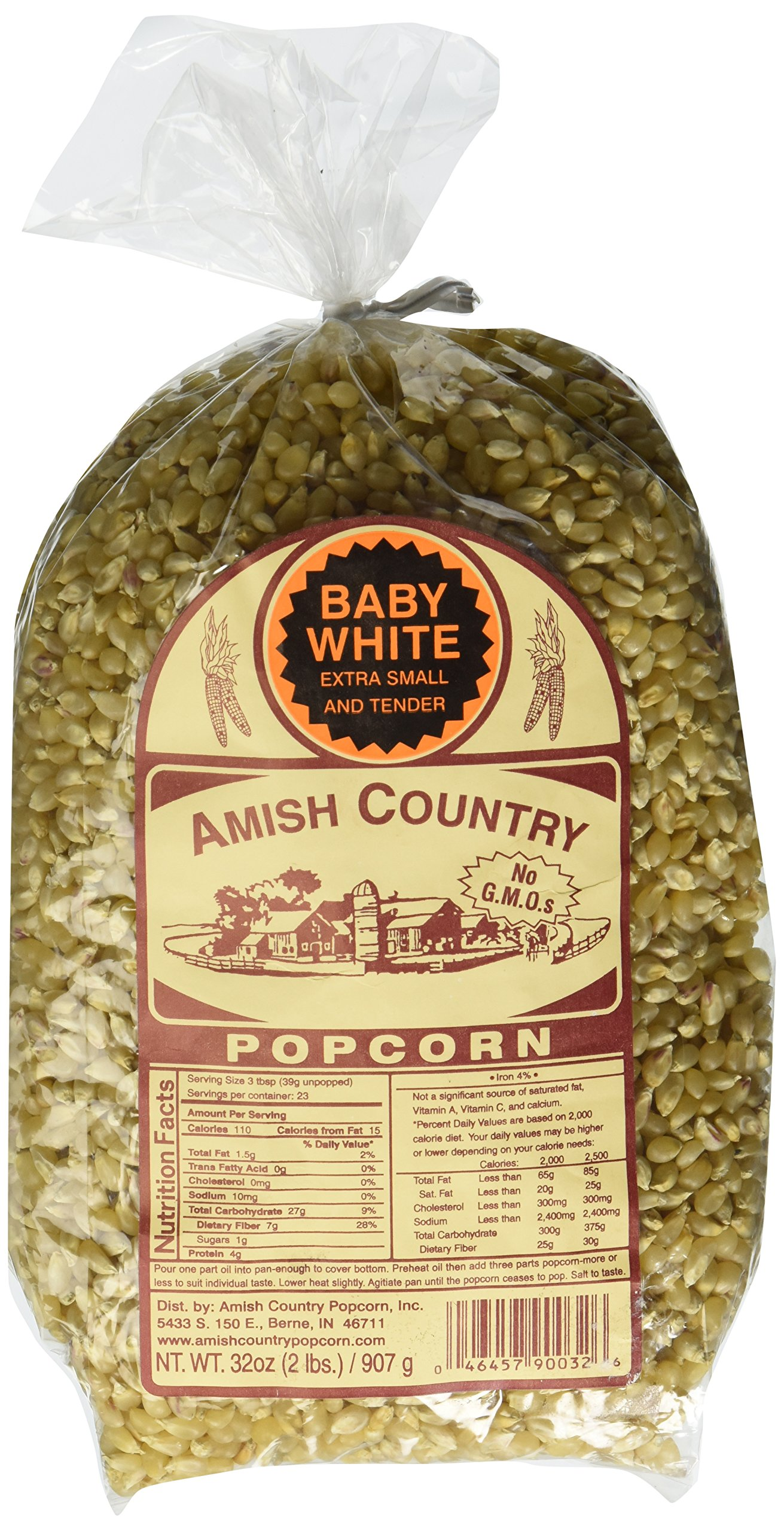 Amish Country Popcorn - Baby White Extra Small and Tender - 2lb Bag with Recipe Guide - Old Fashioned, Non GMO, Gluten Free, Microwaveable, Stovetop and Air Popper Friendly
