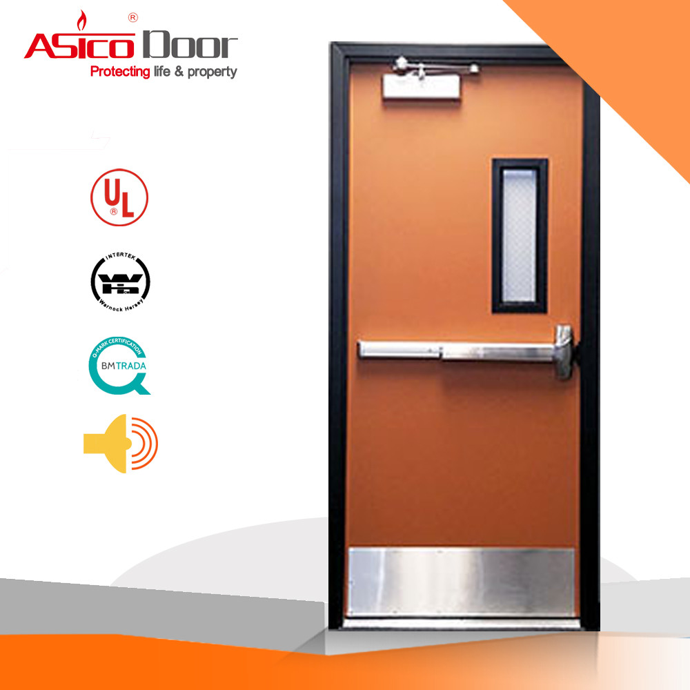 ASICO UL Listed 1 2 3 Hour Fire Rated Hollow Flush Metal Door With Full Set UL Hardware