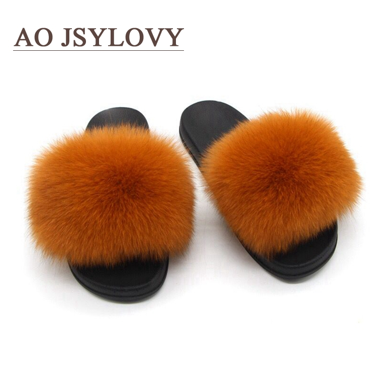 Multi Rainbow Color Burgundy Fluffy Buckle Fake Fox Fur Slides