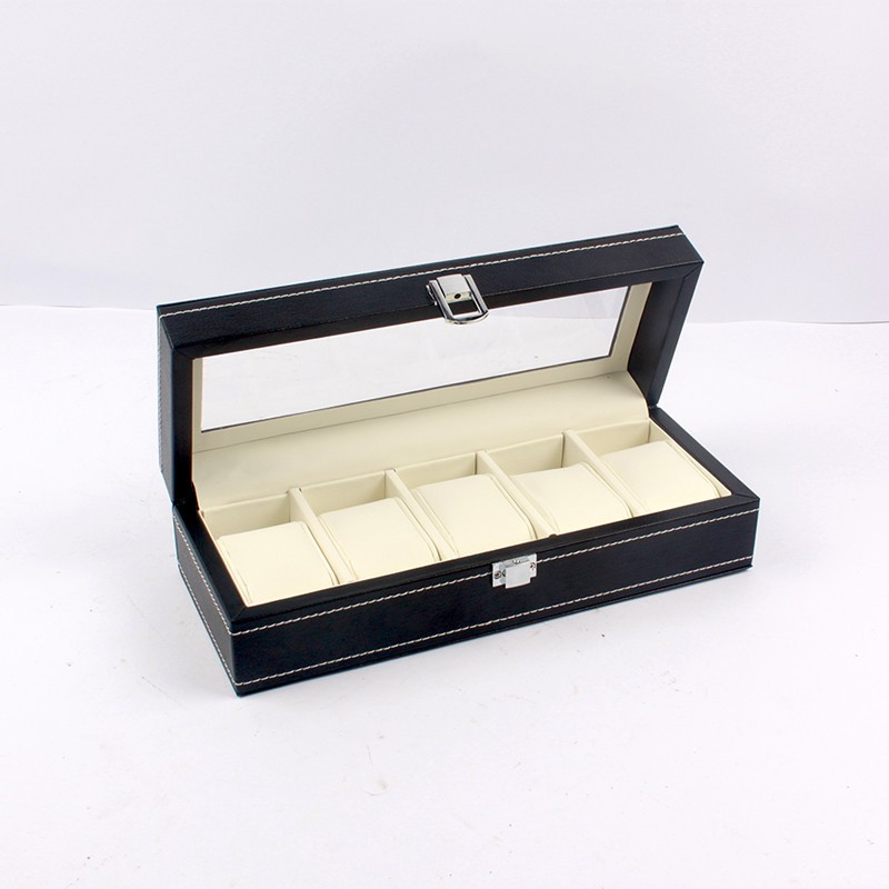 Watch storage box made by faux leather and see through window display box