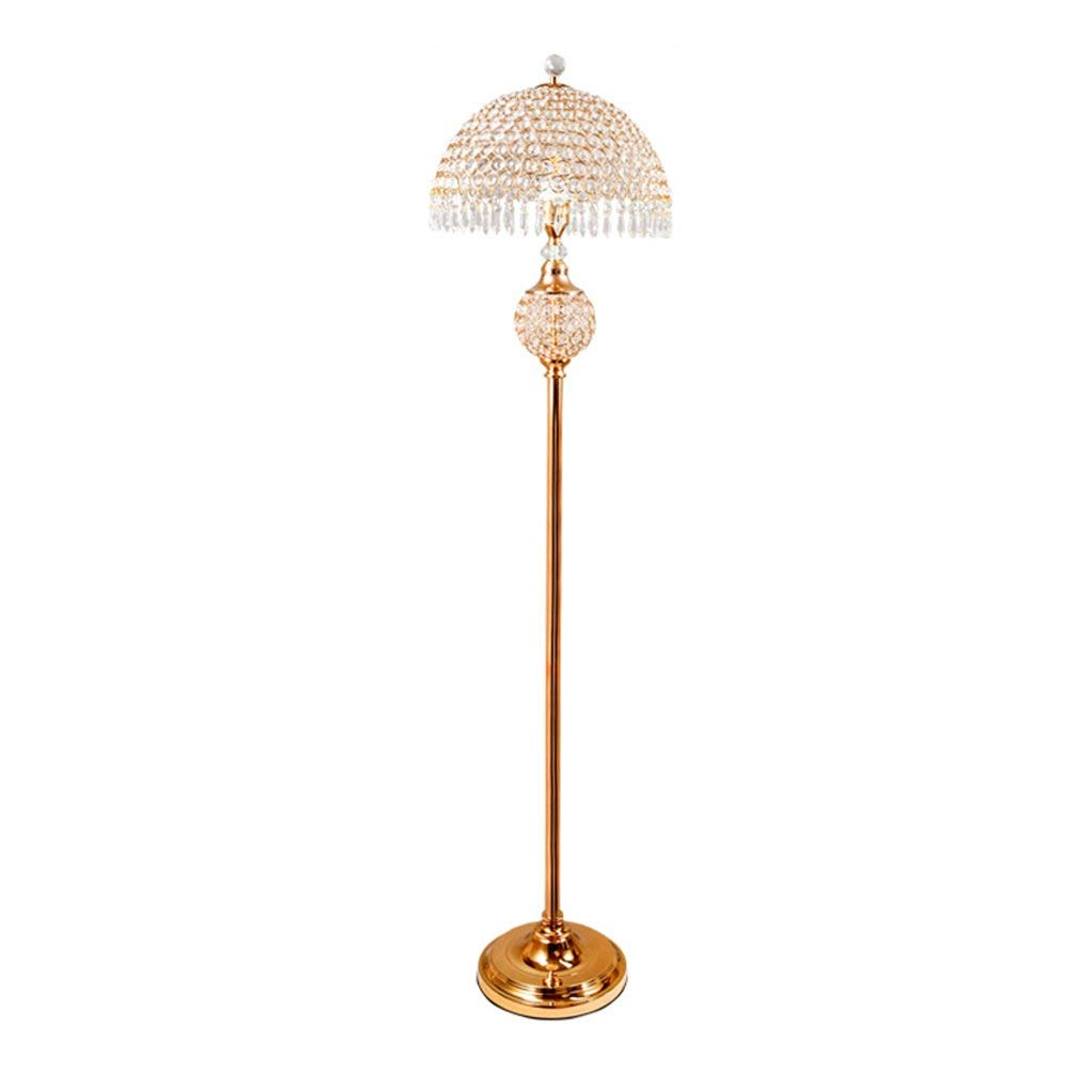 ALUS-floor lamp European Crystal Floor Lamp Living Room Bedroom Luxurious Iron Light Body Crystal Lampshade E27 Floor Type Table Lamp (Size: 26 150cm)