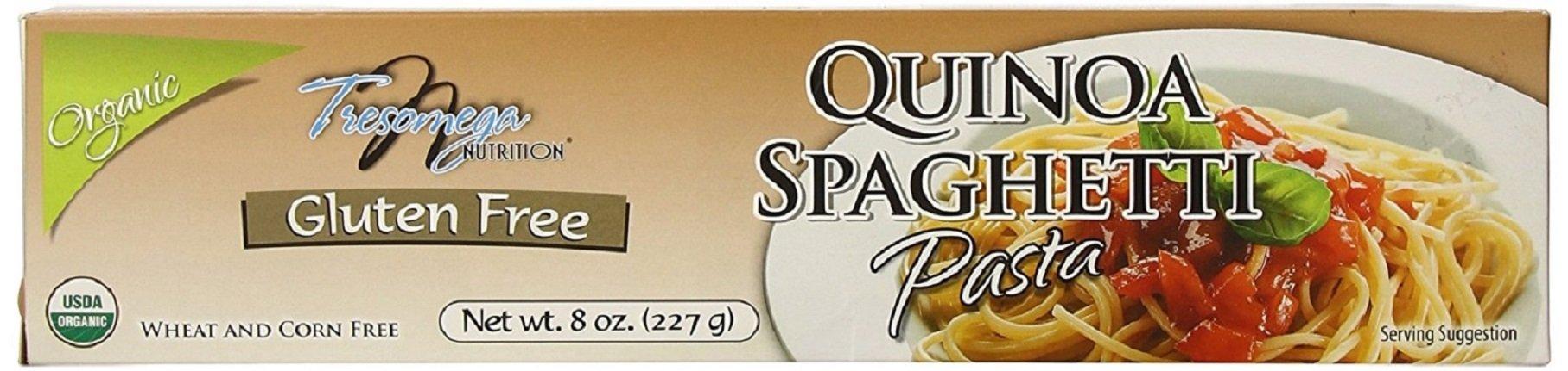 TresOmega Nutrition– Organic Quinoa Spaghetti Pasta–Made with Organic Quinoa, Rice & Amaranth for A Meal High in Protein & Fiber–8 oz. Box