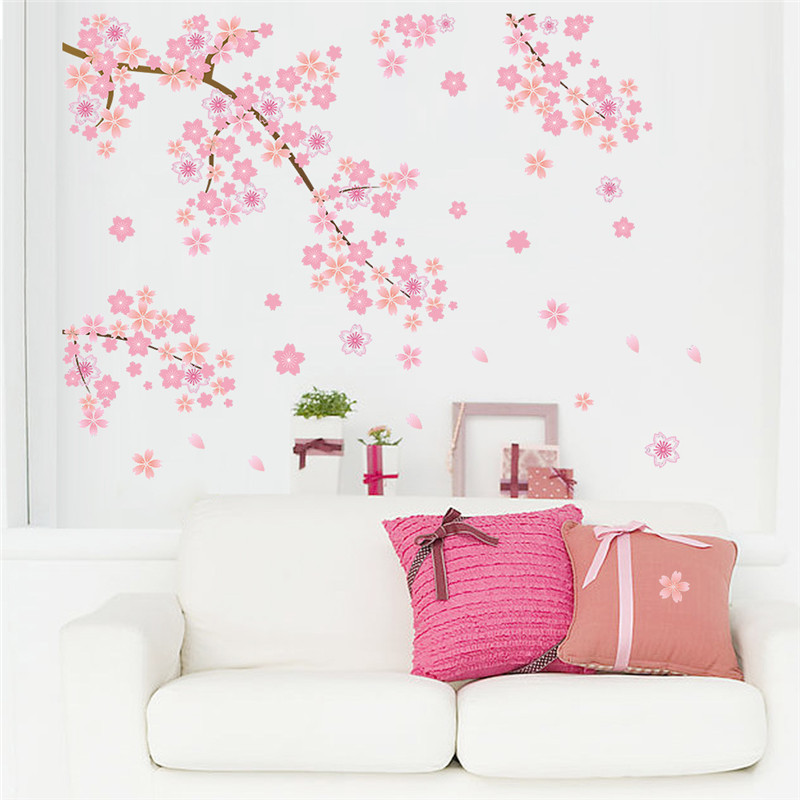 Charming Romantic Girl Wall Sticker For Kids Rooms Flower LOVE heart Wall Decal Bedroom Sofa Decoration Wall Art