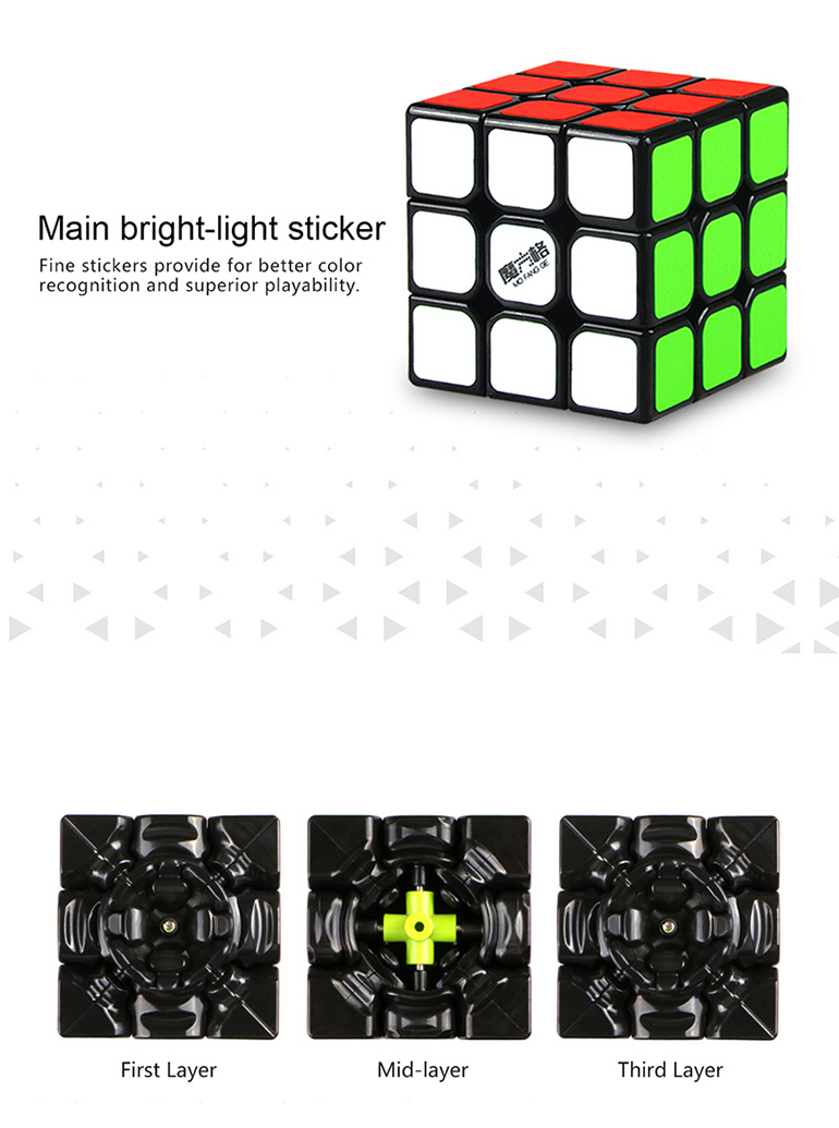 3x3x3 thunderclap plastic qiyi speed mini cube puzzle with light sticker