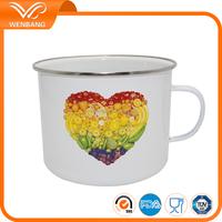 OEM printed promotional set of 2pcs carbon steel enamel coffee mug cup